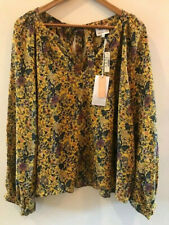 MADEWELL by KAREN WALKER  Yellow Floral SILK Blouse Extra Large (3X) Orig. $130