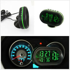 4in1 Car Inside Outside Green Backlight Time Voltmeter Thermometer Voltage Meter