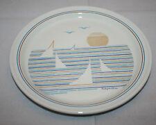 Set of 3 Vintage Figgjo Norway Regatta 8 inch Salad Side Plates Beach Sunset (B)