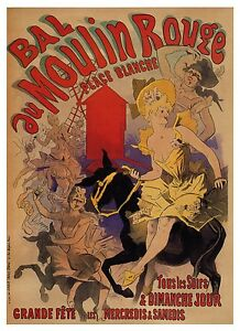LARGE CANVAS PRINT VINTAGE ART PAINTING  RED MOULIN ROUGE