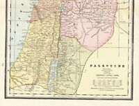 1890 Antique PALESTINE Map Crams Vintage Map of Palestine Wall Art 7538