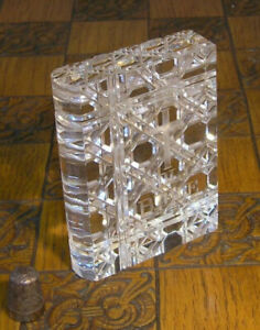 Vintage Heavily Deep Cut Crystal Holy Bible Paperweight