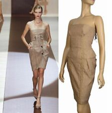 $3,500 RUNWAY GUCCI STRAPLESS LEATHER LACE UP & TIE DRESS OPULENT BEIGE IT 38 2