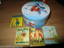 Lot anciens magnets Bledine,Menier,Maizena,Huile d olive + boite vache qui rit