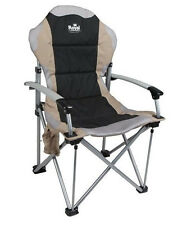 Royal Commander Folding Camping Chair With Carry Bag & Solid Arms - Black