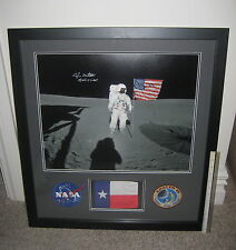 "ED MITCHELL INSCRIBED & SIGNED ""FLAG FLOWN TO THE MOON"" & PHOTO DISPLAY + LETTER"