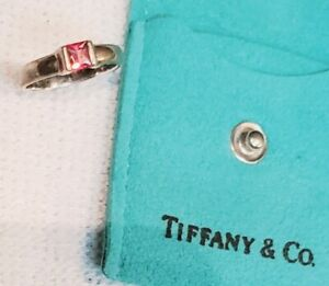 2004 Tiffany & Co Sterling Silver 925 Pink Sapphire Gem Stone ring size 3.5 Band