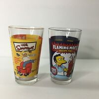 2 The Simpsons Beer Pint Glass Glasses Flaming Moe's Recipe & Drinking Game