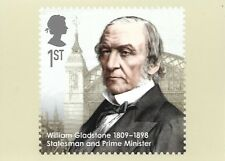 ROYAL MAIL STAMP POSTCARD<>EMINENT BRITONS<>WILLIAM GLADSTONE