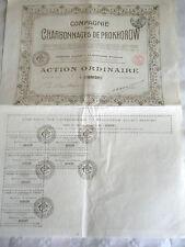 Vintage share certificate Stocks Bonds Charbonnages de Prokhorow coal 1919