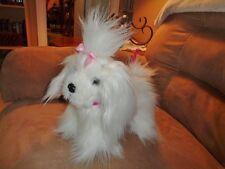 "Dog Battat Solid White Fluffy Puppy Stuffed Plush Girl Pink Bow & Leash 9"""