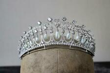 Gorgeous Cultured Pearls & Royal White Cubic Zirconia Art Deco Queen Crown Tiara