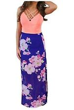 NEW~Women MEDIUM~BOHEMIAN~Floral Print Tank w/ Chiffon MAXI Dress~Beach Cover Up