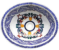 #120 SMALL BATHROOM SINK 16x11.5 MEXICAN CERAMIC HAND PAINT DROP IN UNDERMOUNT