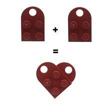 Lego Rojo Oscuro Amor Corazón - (2 X Lego placas) Nuevo