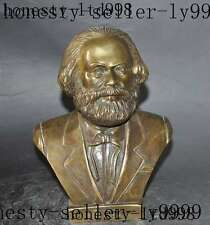 "7"" Germany German Proletariate Leader Copper Bronze Marx Karl Head Bust Statue"