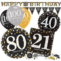 GOLD CELEBRATION Birthday Party Range - Tableware Balloons Banners & Decorations