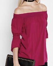 Womens Medium EXPRESS FUCHSIA PINK OFF THE SHOULDER BLOUSE (M 8-10) top shirt