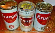 Lot of 3 Krueger Flat Top Beer Cans Virginia Tax Stamp Lids