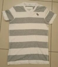 ABERCROMBIE & FITCH V NECK T SHIRT, MEDIUM, GREY WITH WHITE STRIPES MUSCLE FIT