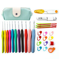 30Pcs Crochet Hook Kit Yarn Knitting Needles Sewing Tools Ergonomic Grip Bag Set