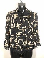 Joseph Ribkoff Womens Blazer Black Cream Floral 3/4 Sleeve Lace Size 6