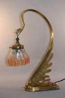 ANTIQUE ART NOUVEAU AUSTRIAN SECESSIONIST LAMP - SWAN FORM, GLASS SHADE