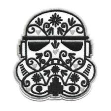 "STORMTROOPER CALAVERA IRON ON PATCH 3"" Embroidered Star Wars Flowers Sugar Skull"