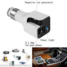 Dual USB Charger Car Fresh Air Ionic Purifier Oxygen Bar Ozone Ionizer Cleaner