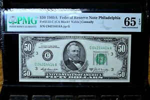 1969-A $50 FEDERAL RESERVE NOTE ✪ PMG GEM-65-EPQ ✪ FR 2115-C UNC 414 ◢TRUSTED◣