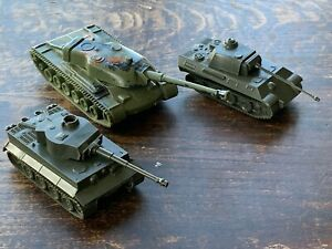 3 x Plastic Tanks Vintage Toy Panther Tiger ROCO DBGM Unboxed Military
