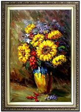 Framed Hand Painted Oil Painting, Still Life w/ Mums and other Flowers 24x36in