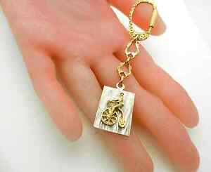 14K GOLD ANTIQUE PENNY FARTHING BIG WHEEL BICYCLE KEYCHAIN Key Ring 9 grams