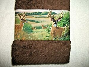 DEER IN THE WOODS DESIGN  HAND TOWEL, DARK BROWN COLOR
