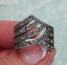 Marcasite RING (Size 8) TGW .84 cts. (Oxidized Black) Stainless Steel