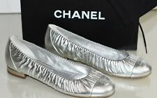 NEW CHANEL SILVER Lame Leather CC Logo Flat SHOES Ballet Ballerinas FLATS 40.5