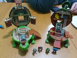 2 Vintage Teenage Mutant Ninja Turtles Raphael Castle Playset Mirage 4 Figures