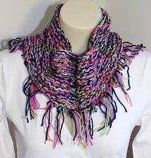 Hand Knitted Cowl Infinity Scarf Fringe Handmade Purple Blue Pink Ladies Fashion