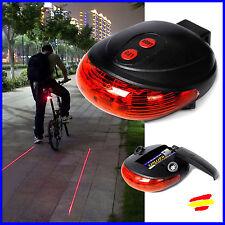 LUZ TRASERA 5 LEDS + LASER Guias Carril TRASERO Linterna Bici Bicicleta Ciclismo