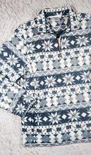 TEDDI Gray/White Nordic Fuzzy Fleece Pullover Jacket Built-in Faux Cami, Sz L