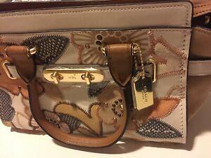 Coach Swagger 27 w/ Patchwork Tea Rose & Snakeskin Detail Handbag Crossbody Bag