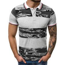 Men Polo Shirt Top Short Sleeve Camo Tshirt Casual Sport Slim Fit Horse Golf Tee