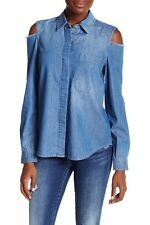 NWT 7 For All Mankind Denim Long Sleeve Cold Shoulder Blouse M $179