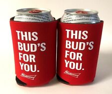 Budweiser Beer This Bud'S For You Koozie Fits 12 oz Cans Bottles (2) - New & F/S