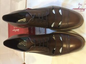 Salvatore Ferragamo Men Brown Leather shoes 'FAMOSO' Size-10.5D