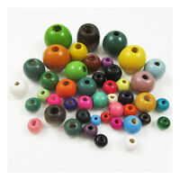 PAINTED WOODEN BEADS MIXED PACK *10 SIZES* CRAFTS BEADING JEWELLERY MAKING
