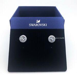 Authentic SWAROVSKI Rhodium Angelic round Pave Pierced Stud Earrings 1081942
