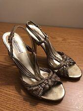 Pour La Victoire Shimmer Gold Leather Slingback Heels Dressy Sandals SZ 6.5