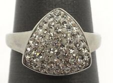 Sterling Silver Elegant Cubic Zirconia Cluster Triangle Shape Cocktail Ring Sz 7