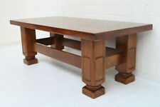 VINTAGE SOLID OAK COFFEE TABLE WITH OVERSIZED CARVED LEGS GOOD CONDITION !!!